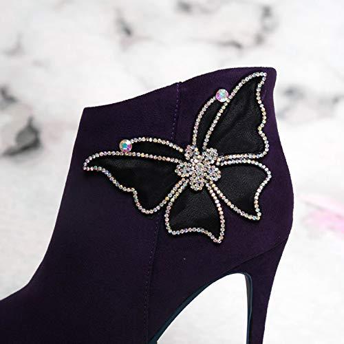 AJUNR Modische Arbeit Damenschuhe Fliege Kurze Stiefel high high high 10cm Diamond modisch süß sexy hingewiesen 83e526