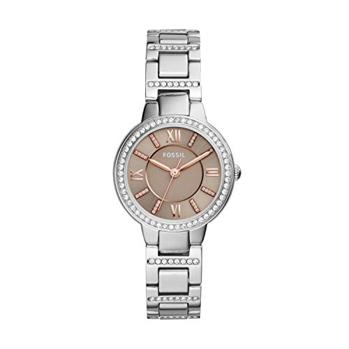 Fossil Women's Virginia Quartz Stainless Steel Dress Watch, Color: Silver-Tone (Model: ES4147)