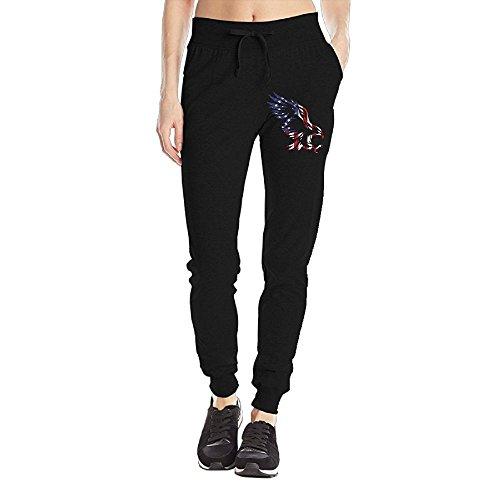 American Flag Eagle Women's Sweatpants Jersey Pocket Pant Drawstring Training Sports Yoga Jogger Pants With (Triple Bar Stripe Polo)