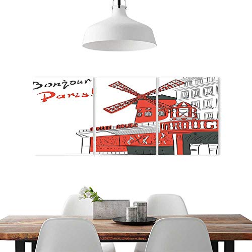 Modern Decoration Living Room Bedroom Home W12 x H16/3P, Art Wall Decor FramelessParis Decor Sketch Art Urban Landscape Cabaret Moulin Rouge in Paris Modern City Trendy Red Grey ()