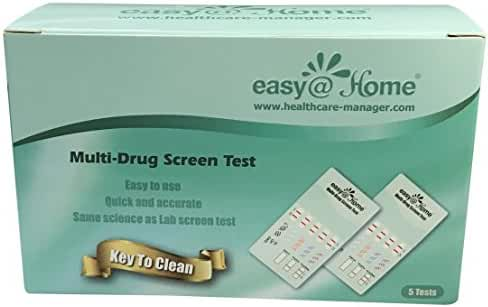 5 Pack Easy@Home 5 Panel Instant Urine Drug Test - Marijuana (THC),Cocaine (COC),Opiate (OPI 2000),Benzodiazepines (BZO), Amphetamine (AMP) - #EDOAP-754