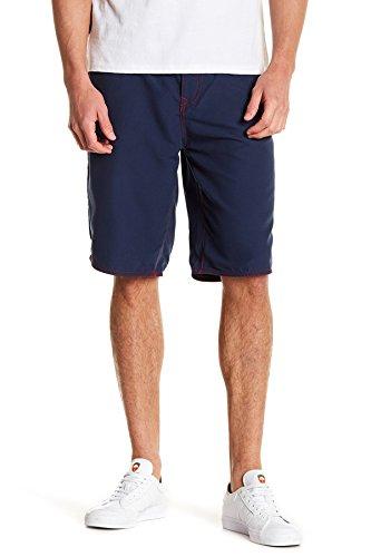 True Religion Big T Board Shorts (Navy, 42) - Flap Pocket Boardshorts