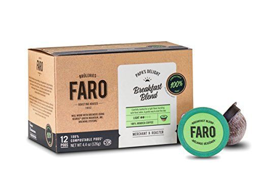 Faro Breakfast Blend, Light Roast Coffee. 100% Compostable, Organic, Fair Trade Single Serve Cups for Keurig K-Cup Brewers, 24 Count
