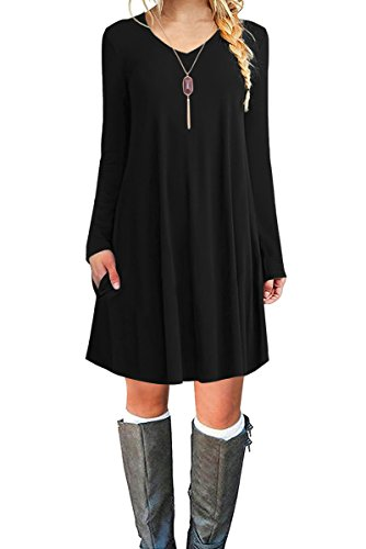 Jouica Women's Long Sleeves Casual Loose T-Shirt Dress (Black XL) (Polyester Swing)