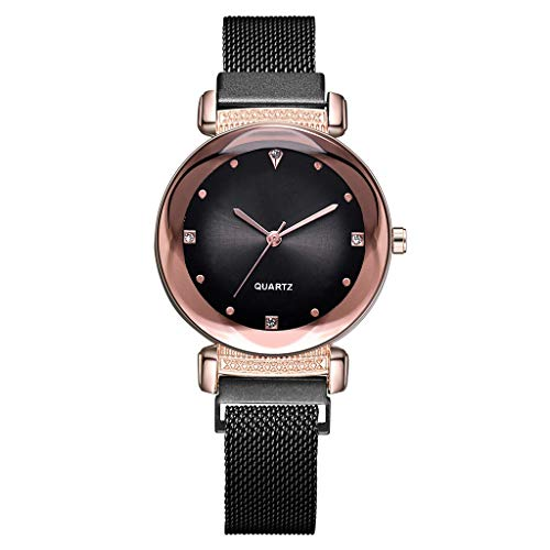 WaiiMak Hot Woman Diamond Dial Mesh Belt Quartz Watch Magnetic Buckle Ladies Watch (Black)