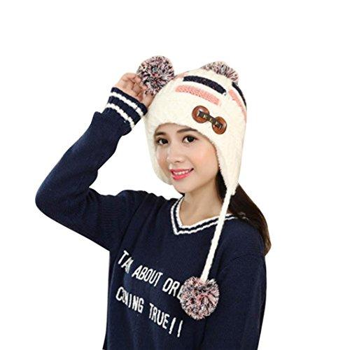 AMA(TM) Women Winter Warm Braided Knit Hat Beanie Ball Cap Beret with Earflap (White) - Earflap Ball Cap