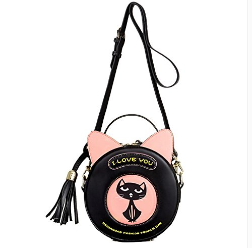 FAIRYSAN Donne Ragazze Cute Dog Ear Design personalità spalla animale Mini Messenger Cross Body Bag (Nero)