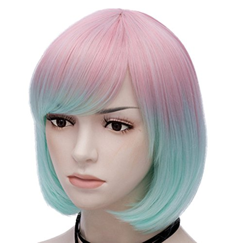 Mildiso Bob Wigs Short Colorful Wig for Girls Women ( Pink Light Blue ) Straight Cosplay Wig Halloween Costume Wig Oblique Bangs with Wig Cap M021PK (Wig Girl Halloween)