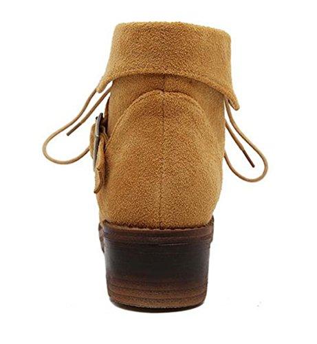 A Faible Talon Chaussures Ladies Hiver Bottines Appartement A Lacets Suede Womens Martin Nouveau dqRwd5
