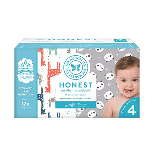 The Honest Company Super Club Box pañales con tecnología TrueAbsorb, Pandas y Safari, tamaño 4, 120 unidades