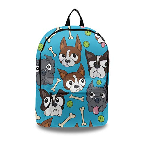 (Casual Style Lightweight Laptop Bag/Durable Travel Backpacks/Rucksack for Men&Women/Fashion Backpack (Boston Terriers Dog Bone))