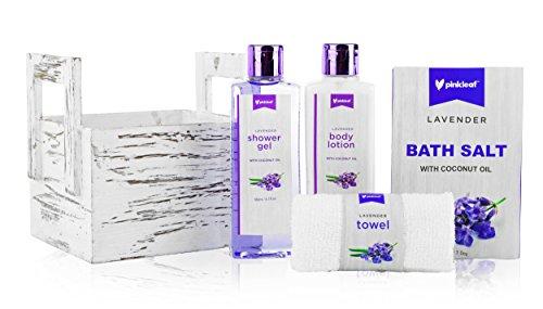- Pinkleaf Lavender Coconut Oil Spa Gift Set, Spa Basket, In Natural Wooden Box with 6 Greeting Cards