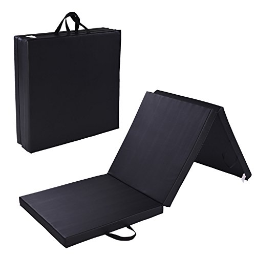 Folding Gymnastics and Workout Mat 6 Feet with Carrying Handle – PU Leather Cover