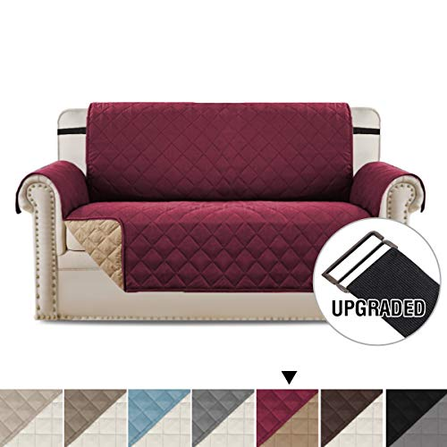 - H.VERSAILTEX Loveseat Cover Reversible Loveseat Slipcover Furniture Protector with Elastic Straps, Seat Width Up to 54