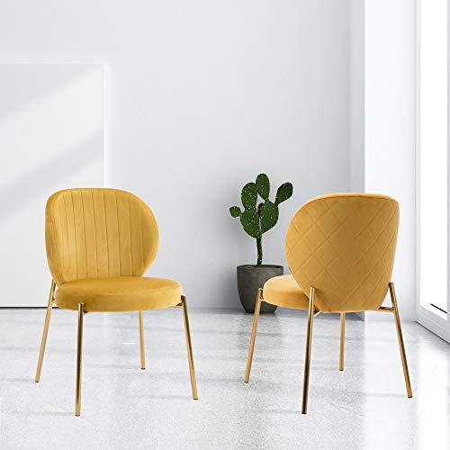 DAGONHIL Velvet Dining Chair,Upholstered Makeup Stool with Golden Metal Leg,Set of 2(Yellow)