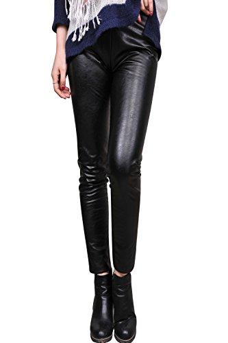 Women Faux Leather Skinny Pants Warm Low Waist Slim Leggings With Fleece (Genuine Womens Jeans)
