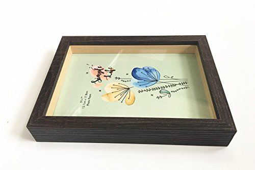 leyoubei 5x7-inch Picture Frame Shadow Box (Slide pin) with Glass Front,for Desktop and Wall Hanging Display Collectibles,Plant Specimen and Photos (Dark - Frame Shadow Box 7x7