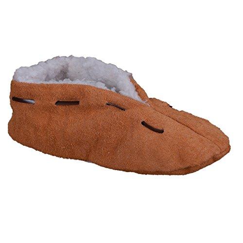 Lammfell-Hausschuhe | Damen & Herren | gefüttert & rutschfest | Leder-Puschen | Extra warmes Futter aus Lammfell-Imitat | Antirutsch | Winter-Pantoffeln | extra warm & weich