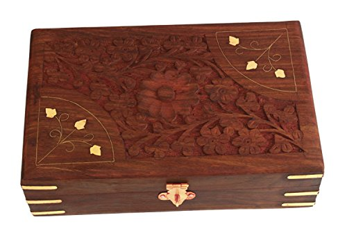 Artisans Of India Hand Carved Wooden Jewellery Box/Trinket Organizer/Decorative Boxes with Red Velvet Lining