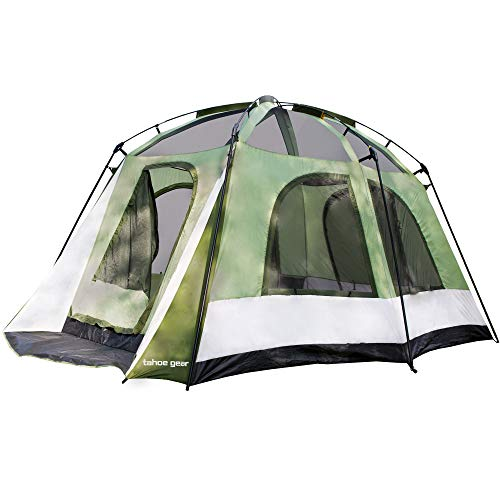 Tahoe Gear Jasper 7 Person Family Cabin Dome Outdoor Camping Tent, Green White