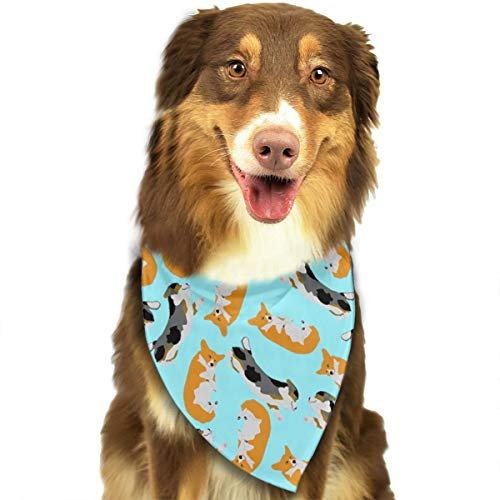 ZZJIAK Dog Bandana Scarf Funny Welsh Corgi Triangle Bibs Printing Kerchief Set Accessories Dogs Cats Pets ()