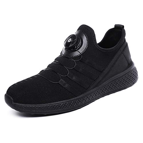 Mysky Fashion Men Casual Breathable Comfortable Athletic Running Walking Shoes Male Brief Pure Lightweight Sneaker Black