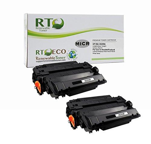 Renewable Toner 55A Compatible MICR Toner Cartridge Replacement HP CE255A for HP LaserJet Enterprise P3010 P3015 P3016 Printers (2 Pack) by Renewable Toner
