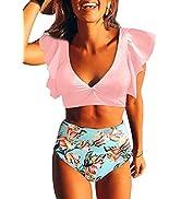 Aleumdr Womens Falbala Bikini Set High Waisted Swimsuits Bottom Flounce Two Pieces Swimsuit Bathi...