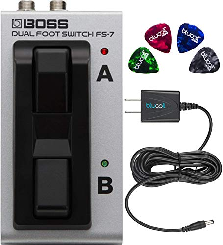 (BOSS FS-7 Dual Latch and Momentary Foot Switch Pedal Bundle with Blucoil 9V DC Power Supply with Short Circuit Protection and 4-Pack of Celluloid Guitar Picks)
