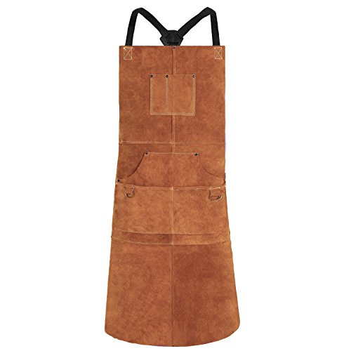 "QeeLink Leather Welding Apron - Heat & Flame-Resistant Heavy Duty Work Apron with 6 Pockets, 42"" Extra Large & Cross Back Extra Long Strap, Adjustable M to XXXL Aprons for Men & Women (Brown)"