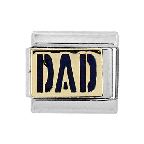 Stainless Steel 18k Gold Italian Charm Bracelet Link Dad Charm 9mm Blue Enamel
