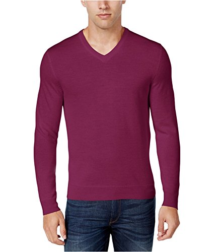 Club Room Mens Wool Blend V-Neck Pullover Sweater Pink 3XL