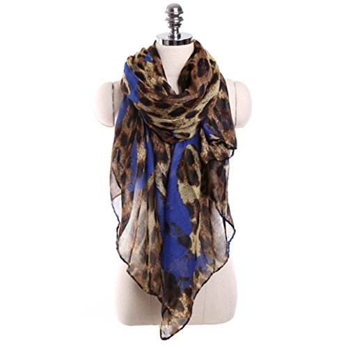 Blue Leopard Print (Oksale Women Ladies Leopard Print Voile Scarf Scarve Wrap Shawl (Dark Blue))