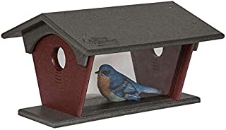 product image for DutchCrafters Poly Bluebird Feeder (Gray & Cherry Wood, Mounting Style - Post Mount)