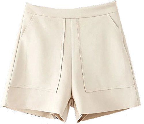 Allonly Women's Fashion Casual Relaxed Fit High Waisted Faux Suede Leather Shorts Pants With Big Pockets