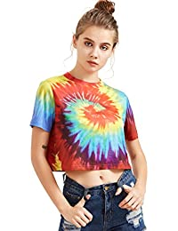 Women's Tie Dye Print Round Neck Short Sleeve Crop T-Shirt Top