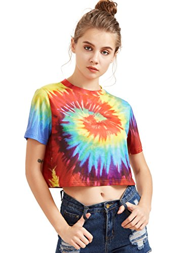 SheIn Women's Tie Dye Print Round Neck Short Sleeve Crop T-Shirt Top Medium Multicolor ()