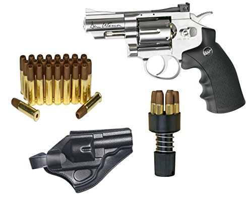 Dan Wesson Licensed.177 Caliber Co2 BB Air gun Revolver Starter Package - Includes 25 Extra Cartridges/Shells & Holster, Silver