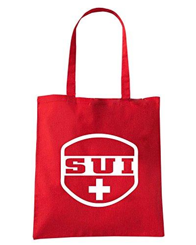 T-Shirtshock - Bolsa para la compra T0728 SVIZZERA calcio ultras Rojo