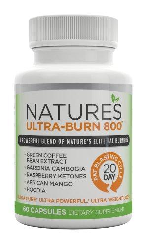 NATURE'S ULTRA-BURN 800 - Garcinia Cambogia, vert Cofee Bean, Framboise cétones, mangue africaine, et Hoodia! La formule All-in-One Perte de poids avec 5 les plus influentes Fat Burners de Mère Nature!