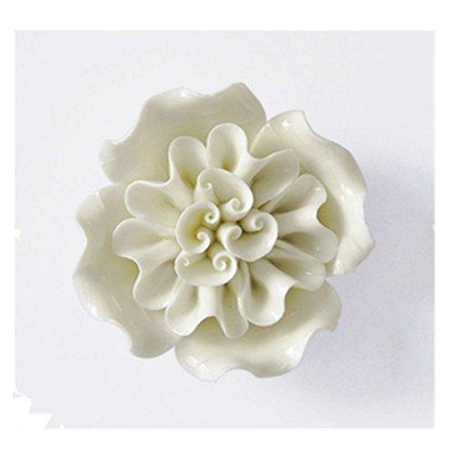 Handmade Ceramic Flowers Three-dimensional TV Sofa Background Wall Decorations Creative Living Room Ornaments (White, 3.34'' X 3.54'' X 1.18'') -