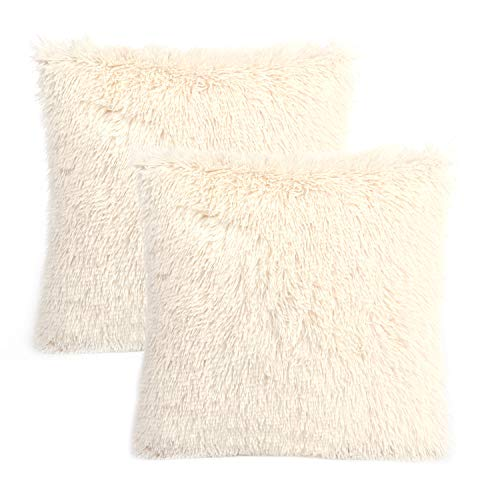 YOUR SMILE Pack of 2, Decorative Plush New Luxury Series Merino Style Faux Fur Throw Pillow Case Cushion Cover 18