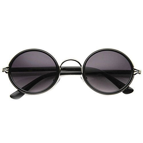 zeroUV - Mid Size Retro Boho Fashion Ornate Metal/Plastic Round Sunglasses 48mm (Black-Silver / - Boho Glasses