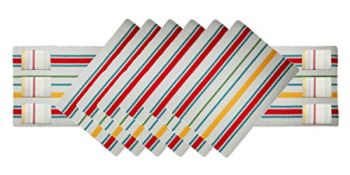 Tiny Break Vintage Stripe Ribbed Placemats and Runner Set with Napkins, Pack of 13