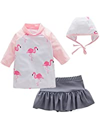 Toddler Bathing Suit Pink Two Piece Swimsuit Flamingo Swan Swimwear Rash Guards Skirt for Girl