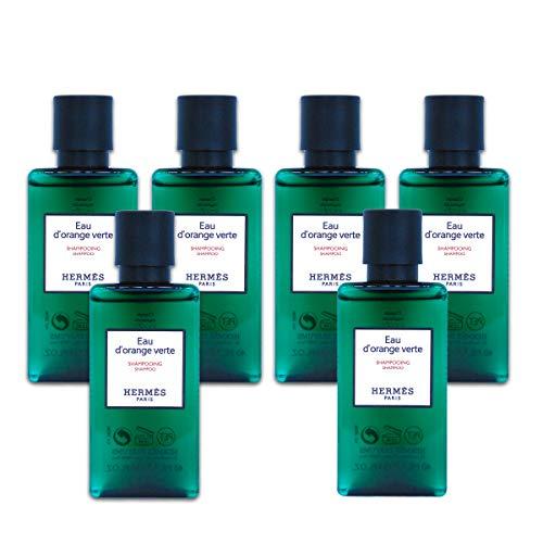 Hermès Eau d'Orange Verte Luxury Shampoo With D-Pantenol Vitamins In Bubble Bag - Set Of 6 X 1.35 Ounce/40 ML Bottles, Total 8.1 Ounce/240 ML from Hermes Paris (Best Luxury Shampoo In The World)