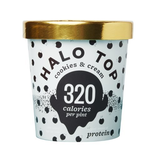 Halo Top Ice Cream Pint, Cookies & Cream, 16 Ounce (Pack of 8) (Top Cream Ice)