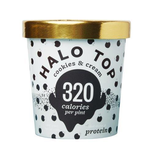 Halo Top Ice Cream Pint, Cookies & Cream, 16 Ounce (Pack of 8) (Ice Top Cream)