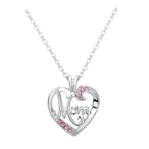 Bling Stars Mother's Day Gift Engraved MOM Pink Crystal Heart Love Pendant Necklace