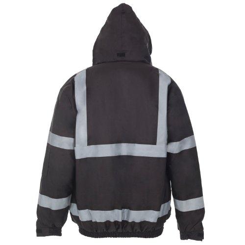 Myshoestore® ad alta visibilità Bomber ad alta visibilità da lavoro da uomo Wear imbottita impermeabile con cappuccio giacche taglia S-3X L Black XXX-Large